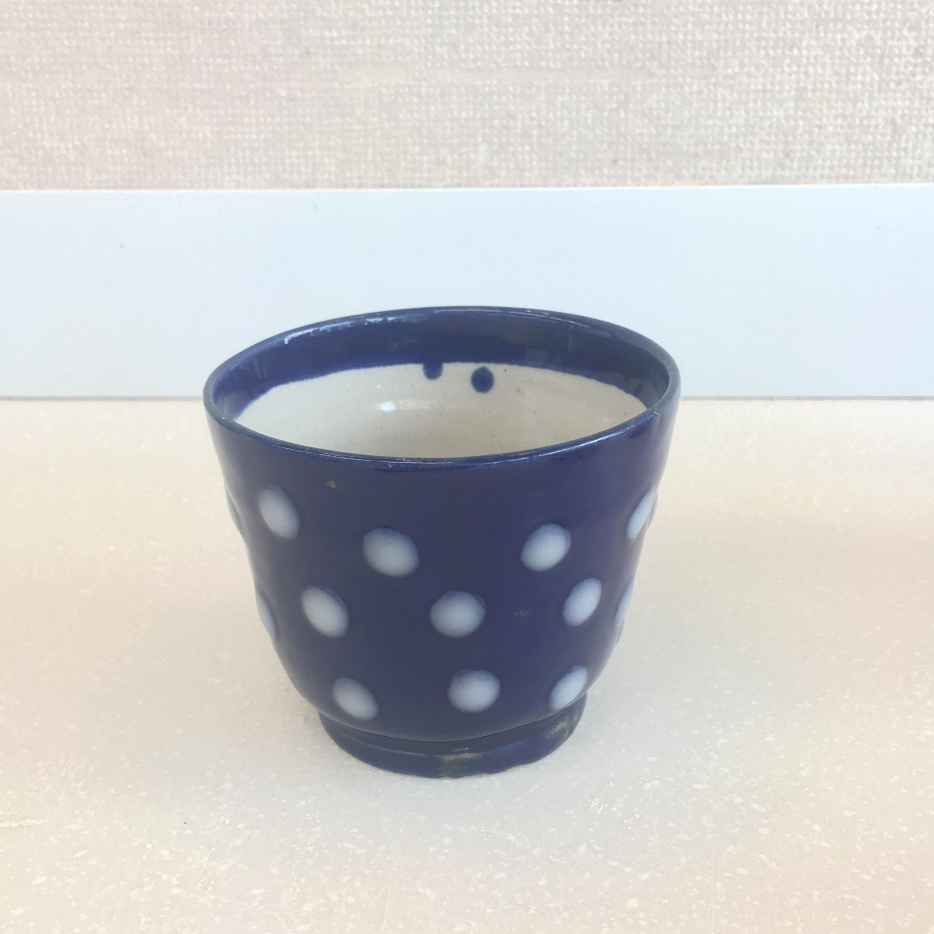 瑠璃釉に志野釉の水玉